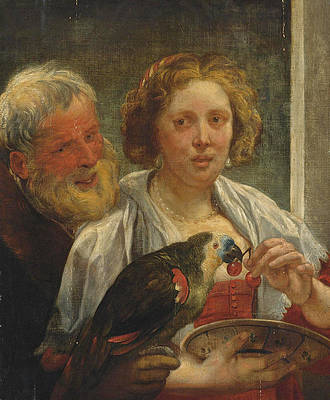 A Bearded Man and a Woman with a Parrot. Unrequited Love Print by Jacob Jordaens