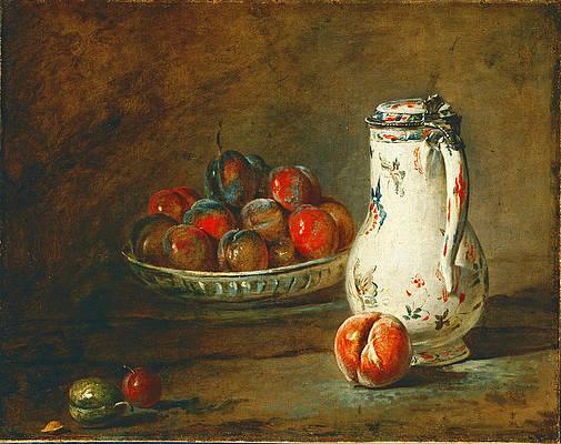 A Bowl of Plums Print by Jean-Simeon Chardin