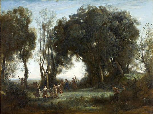 A Morning. The dance of the Nymphs Print by Jean-Baptiste-Camille Corot