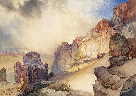 A Sand Storm, Acoma, New Mexico Print by Thomas Moran