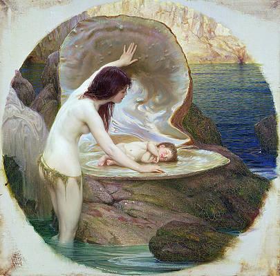 A Water Baby Print by Herbert James Draper