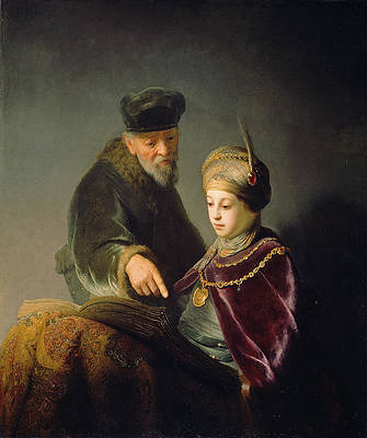 A Young Scholar and his Tutor Print by Rembrandt