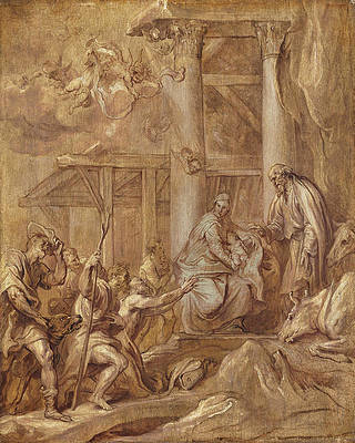 Adoration of the Shepherds Print by Anthony van Dyck