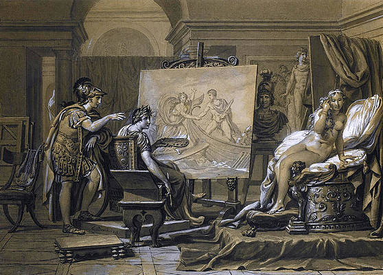 Alexander Apelles and Campaspe Print by Jacques-Louis David