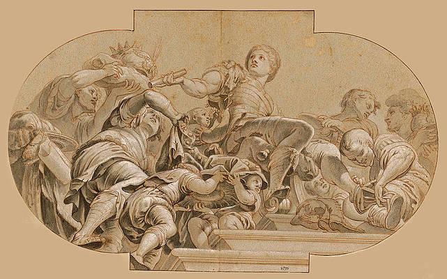 Alexander wears Persian attire Print by Johann Andreas Wolf