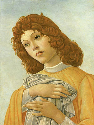 An Angel Head and Shoulders Print by Sandro Botticelli