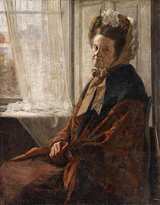 An old Woman at the Window Print by Fritz von Uhde