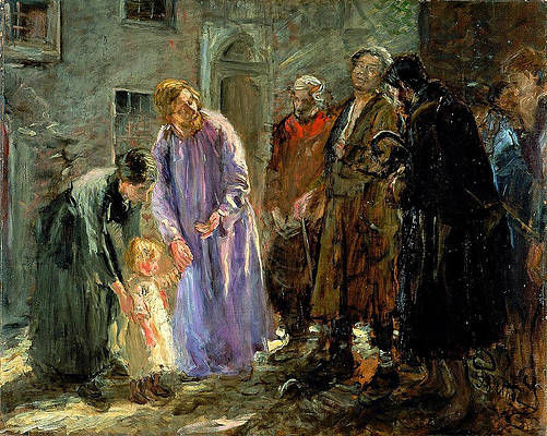 And Jesus called a little child unto him and set him in the midst of them Print by Fritz von Uhde