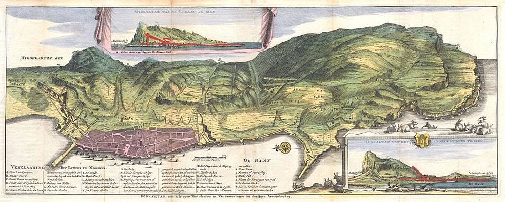 Antique Maps Old Cartographic Maps Antique Map And View Of Gibraltar 1720 De La Feuille Map Drawing By Studio Grafiikka
