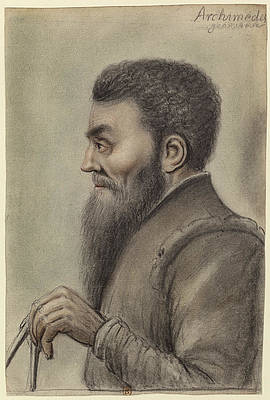 Archimedes holding a compass profile left Print by Nicolas Lagneau