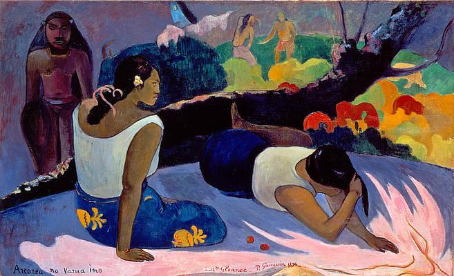 Arearea No Varua Ino. Reclining Tahitian Women Print by Paul Gauguin