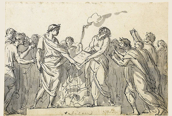Augustus forbidding the burning of Virgil's Aeneid Print by Jacques-Louis David