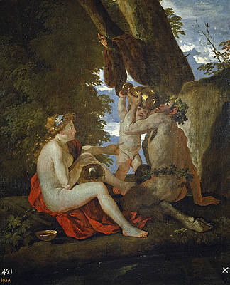 Bacchic Scene or Nymph and Satyr drinking Print by Nicolas Poussin