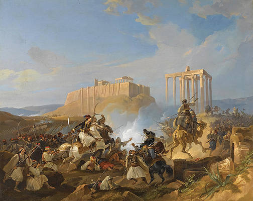 Battle Scene from the Greek War of Independence Print by Georg Perlberg