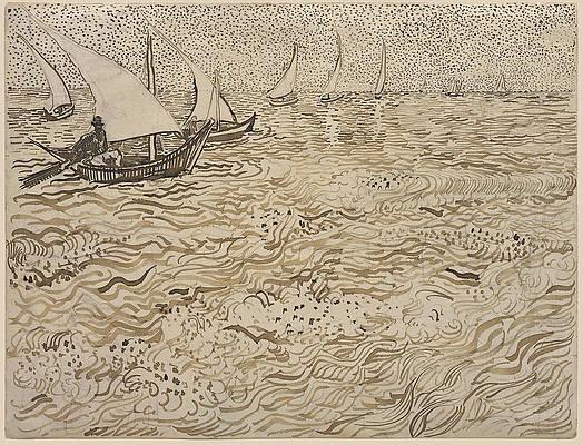 Boats at Saintes-Maries Print by Vincent van Gogh