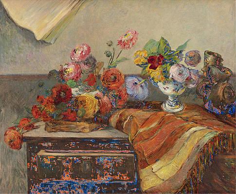 Bouquets Et Ceramique Sur Une Commode Print by Paul Gauguin