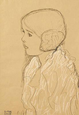 Bust of a Girl in Profile Print by Gustav Klimt