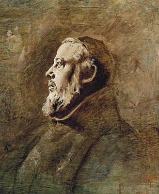 Bust portrait of a monk in profile Print by Anselm Feuerbach