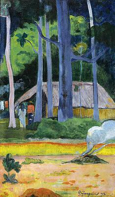 Cabane sous les arbres Print by Paul Gauguin