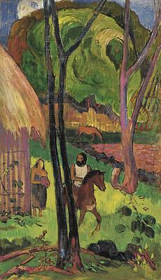 Cavalier devant la Case Print by Paul Gauguin