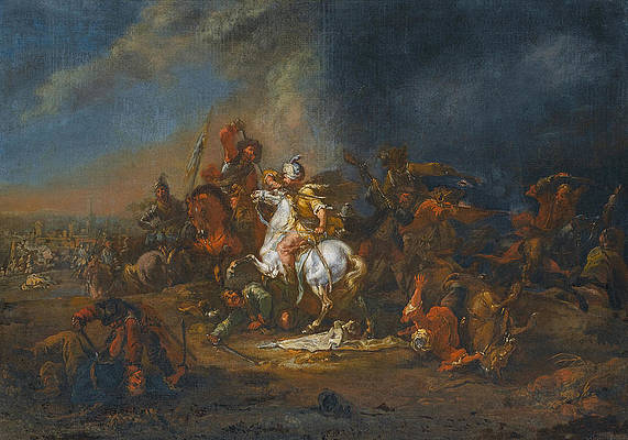 Cavalry skirmishes between Turks and Christians 1 Print by August Querfurt