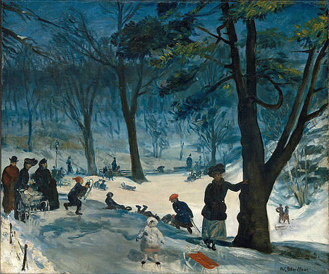 Central Park. Winter Print by William Glackens