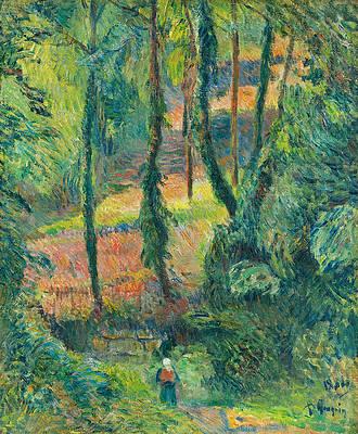 Chemin creux dans une pente boisee Print by Paul Gauguin