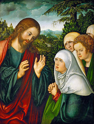 Christ's Farewell to the Holy Women Print by Lucas Cranach the Elder