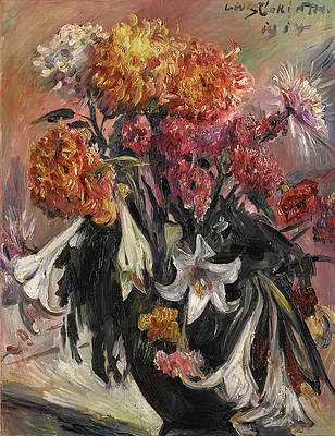 Chrysanthemums and Lilies Print by Lovis Corinth