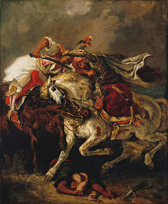 Combat of the Giaour and the Pasha Print by Eugene Delacroix