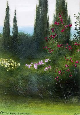 Реалистичный цветочный рисунок - Розы и кипарисы Комо работы Эдварда Клиффорда