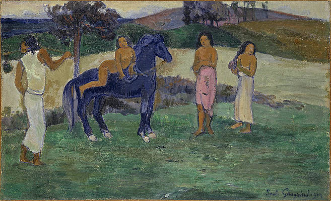 Composition with Figures and a Horse Print by Paul Gauguin