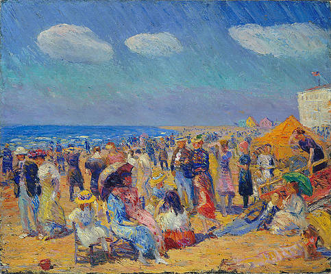Crowd at the Seashore Print by William Glackens