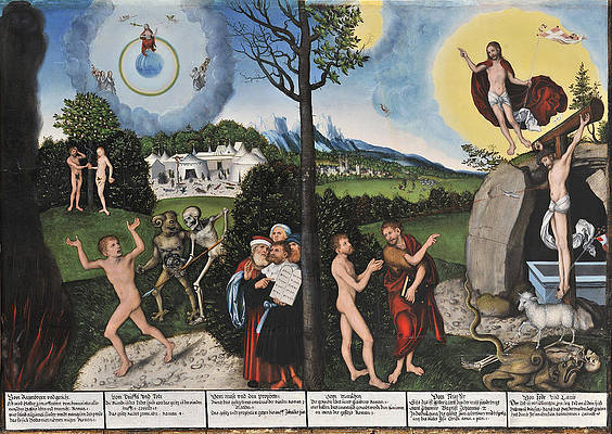 Damnation and Redemption. Law and Grace Print by Lucas Cranach the Elder