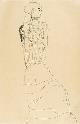 Dancer with Necklace. Study for the Dancer from the Stoclet-Frieze Print by Gustav Klimt