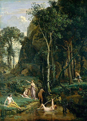 Diana and Actaeon. Diana Surprised in Her Bath Print by Jean-Baptiste-Camille Corot