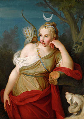 Diana Goddess of the Hunt leaning against a Tree Print by Pietro Rotari
