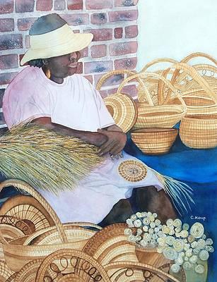 Basket Teaching Day 11x14 original acrylic on canvas painting with sweetgrass basket detail low country black art folk Gullah art