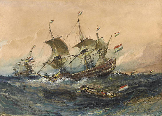 Dutch Ships in a Storm Print by Eugene Isabey