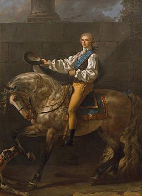 Equestrian portrait of Stanislaw Kostka Potocki Print by Jacques-Louis David