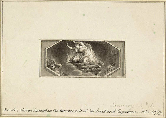 Evadne throws herself on the Funeral Pile of her Husband Capaneus Print by Edward Francis Burney