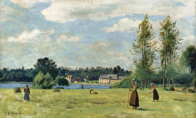 Faneuses a Ville D'Avray Print by Jean-Baptiste-Camille Corot
