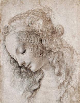 Female head with look down Print by Leonardo Da Vinci
