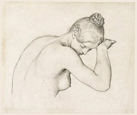 Female Nude Half Length Print by Wilhelm von Kaulbach