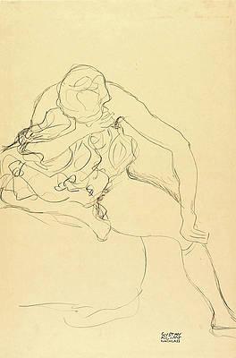 Female Nude Sitting on Bed Print by Gustav Klimt