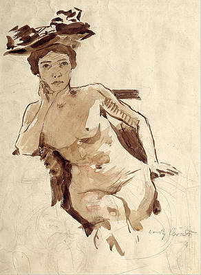 Female Semi-Nude with Hat Print by Lovis Corinth