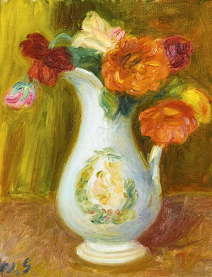 Flowers in a white pitcher Print by William James Glackens