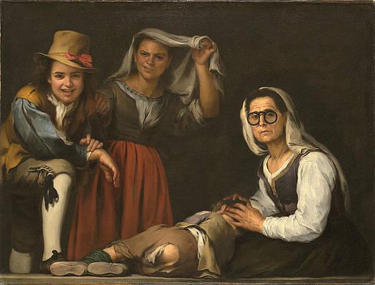 Four Figures on a Step Print by Bartolome Esteban Murillo