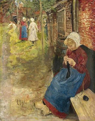 Girl Knitting Print by Fritz von Uhde
