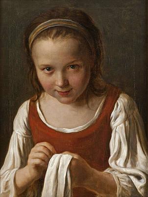 Girl with Needle-work Print by Pietro Rotari